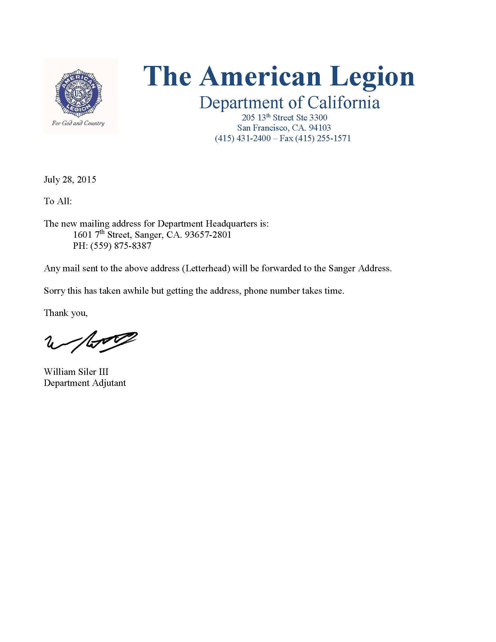 New department mailing address terrific twelfth for American legion letterhead template